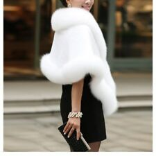 Fashion Woman Soft Fur Cloak Shawl Ladies Checks Warm Coat Jacket Cape Overcoat