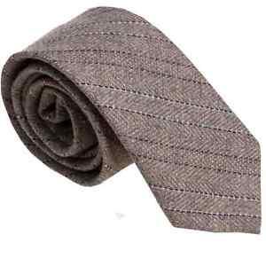 Italian Designer MILANO EXCLUSIVE Beige Striped Wool Tie