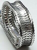 Art Deco Teppich Armband 835 Silber punz. Fischschuppen-Muster 20cm/1,5cm/A455