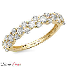 0.90 ct pave set Wedding Bridal Promise Engagement Band Ring 14k Yellow Gold