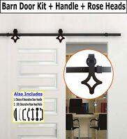 BONUS Handle /& Accent Nails 6.6 FT Sliding Barn Door Hardware Kit 3001