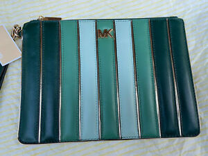 Brand New Michael Kors Quilted Tri-Colour Leather Clutch Wrislet Pouch Green