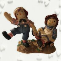 """Raggedy Ann & Andy Figurine """"Bumpy Roads are easier when we are happy inside"""""""