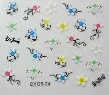 Accessoire ongles: nail art - Stickers autocollants- fleurs stylisées colorées