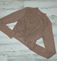 A'Gaci Agaci  Women's Size Medium Twist front Crop Top Blouse Brown Elegant