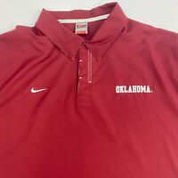 Nike Polo Shirt Mens XXL Oklahoma Red Short Sleeve Casual Golf Polyester