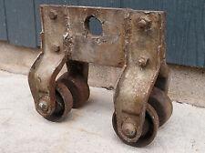 Antique 19th Century Primitive Cast Iron Barn Hay Trolley I Beam Hoist Pulley