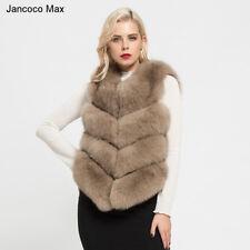 12 Colors Real Fox Fur Gilet Lady Furry Fashion Vest Soft Waistcoat 4 Rows 7164