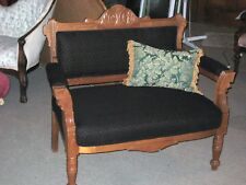 Victorian Eastlake Parlor Settee/Bustle chair, exceptional, new upholstery