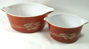 2 Vtg Pyrex Autumn Wheat Round Pour Bowl Casserole Dishes 473-B 1L & 475-B 2.5L