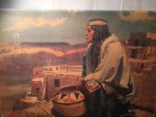 Robert Amick Native American Indian Man Pueblo Print On Board Vintage