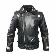 Men Western Genuine Cowhide Leather Jacket Fringe,Bone & Beads NATIVE AMERICAN