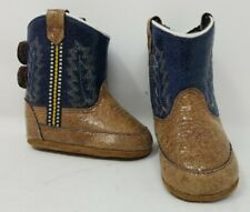Old West Navy/Brown Infant Boys Faux Leather Western Cowboy Boots B10104