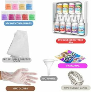 Tie Dye Kit Set of 9 Paint Colours Ink for Dyeing Fabric Clothes Fun Crafts