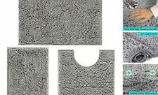 00006000 Bathroom Rugs and Mats 3 Pieces Luxury Chenille Bath mats Set Anti-Slip Grey
