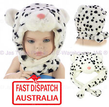 Toddler Girl Boy Animal Costume Ear Flap Head Cover Hat Spotted Snow Leopard