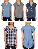 Jachs Girlfriend Women's Cap Sleeve Button Down Shirt Blouse