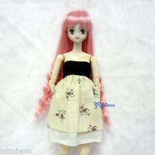 "Obitsu 1/6 Bjd Dollfie Heat Resistant 3.5"" - 4"" Doll Wig Long Wavy Braids Pink"