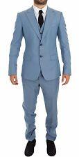 NWT $2600 DOLCE & GABBANA Blue Wool Silk Slim Fit 3 Piece Suit EU44 /US34 /XS