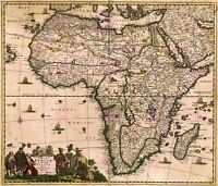 Map Antique De Wit 1688 Africa Continent Old Large Replica Canvas Art Print