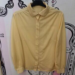 Size 12 Vintage Yellow Sheer Chiffon Long Sleeve Blouse Shirt
