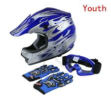 New DOT Youth Blue Flame Dirt Bike ATV MX Motocross Helmet Goggles+gloves L Size