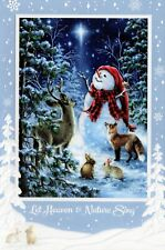16 Embossed Boxed Christmas Cards Deer Fox Rabbits Snowman