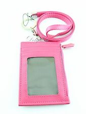 Multi Color ID badge zipper card holder and Leather Lanyard with key chain