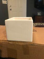 6 White Ceramic Cube Square Flower Vase 4x4x3.25
