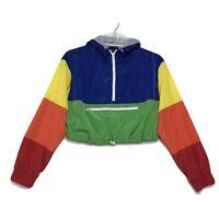 RAINBOW Colorblock CROPPED Windbreaker Jacket Womens S Mesh Lined Hood 1/2 Zip