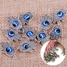 10x Tibetan Silver Hamsa Hand Evil Eye Lucky Charm Pendant Necklace Bracelet DIY