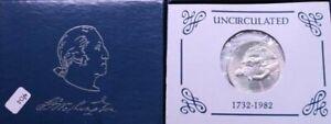 1982-D George Washington Commemorative Unc 90%Silver Half Dollar W/ Box & COA