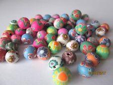 Arcilla Polimérica/Fimo redonda con cuentas 8 mm Multi/Mezclado Color Y Diseño - 50 piezas
