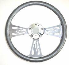 Boat Steering Wheel - Billet Aluminum w/Carbon Fiber Half Wrap, Horn & Adapter