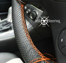 FOR 07-2014 MAZDA 2 PERFORATED LEATHER STEERING WHEEL COVER ORANGE DOUBLE STITCH