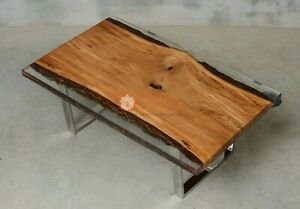 Clear Resin Acacia Wood Handmade Din Table Furniture Collectible Interior Decor