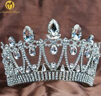 Stunning Princess Tiara Clear Crystal Crown Brides Headband Wedding Prom Party