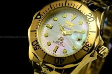 Invicta Men 300M Grand Diver NH35 Automatic 18KGP Mother of Pearl Dial SS Watch