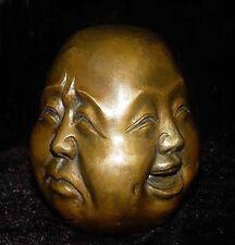 Archaic Bouddha 4 visage antique Excellent old bronze sculpté statue H:6CM