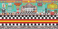 1950's DINER RESTAURANT HUGE MURAL SIGN BANNER GARAGE ART 8' X 16' CUSTOM JOB