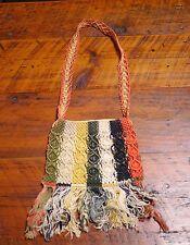 Vintage 1970s Colorful Fisherman Knots Crochet Knit String Hippy Shoulder Purse
