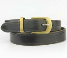 """Black Very Thick Real Vintage Retro Leather Belt Fits 30""""-32 Pant size S"""