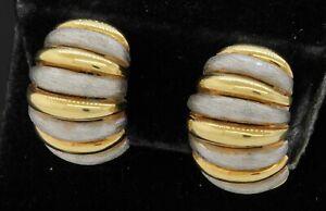 Designer Italian 14K 2-tone gold scallop style puffy clip-on earrings