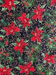Christmas Fabric Per Metre or F/Q Poinsettia Red Navy Cream Festive Advent Noel