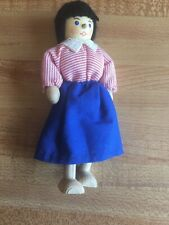 Clothespin Doll By Berling 5� Girl Yarn Hair Black Arms Legs Move