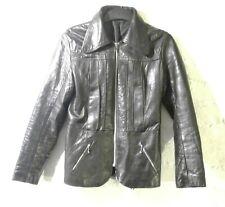 Vintage retro 1970s black leather jacket, ladies size10