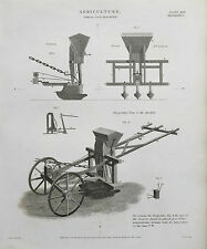 1813 Agriculture Farming Salmon's Drill Machine Antique Print Engraving Rees