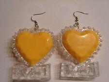 Ohrring mit gelb blinkendem Kunststoff Herz sehr Dezent 3407