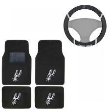 New NBA San Antonio Spurs Car Truck Carpet Floor Mats & Steering Wheel Cover Set