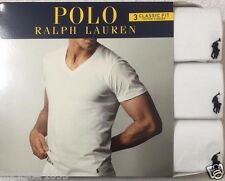 Polo Ralph Lauren 3-V Neck T-Shirts Large (42-44)  White   (4189)